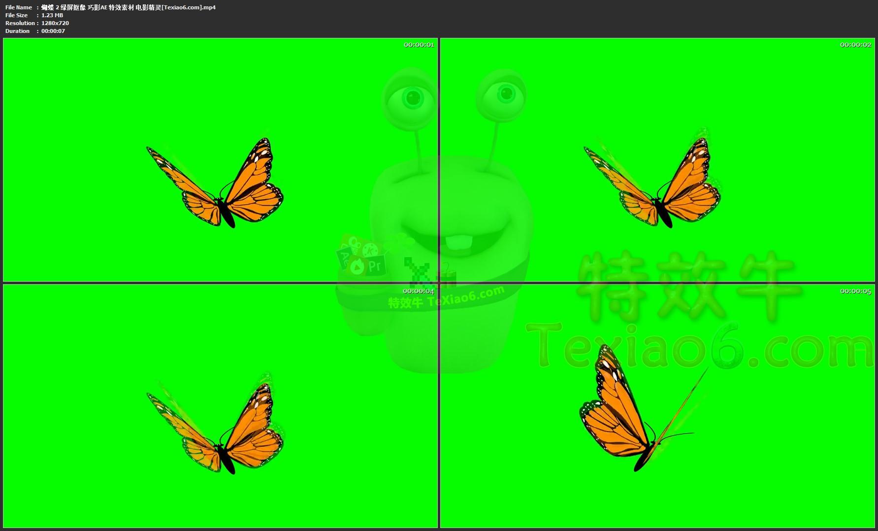 蝴蝶 绿屏抠像 巧影ae 特效素材 电影精灵 会声会影 手机特效素材